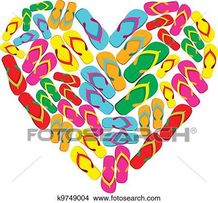 clipart of flip flops in love heart shape k9749004 search clip art rh fotosearch com Beach Clip Art Sand Clip Art