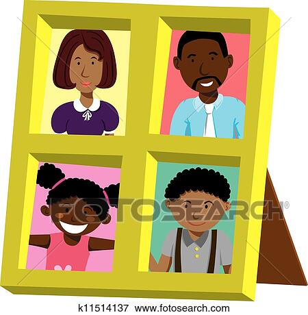 Clip Art Of Frame With African Family Portrait K11514137