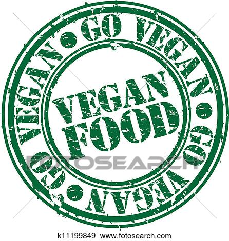 Clip Art Of Grunge Vegan Food Rubber Stamp Vec K11199849 Search
