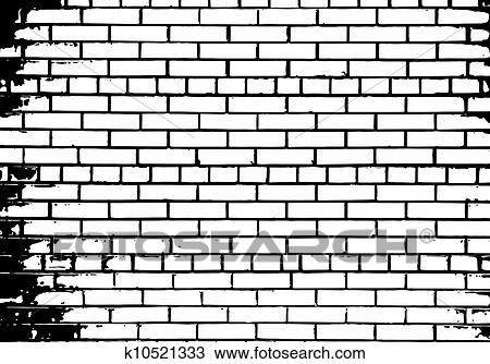 Clipart Of Grunge White And Black Brick Wall Background K10521333