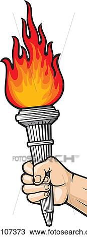 Clipart Of Hand With Flaming Torch K11107373