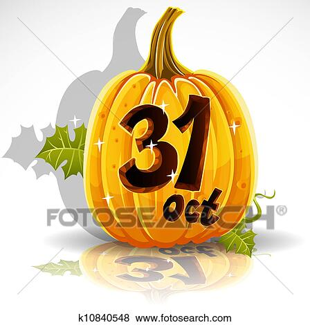 Clip Art   Happy Halloween Pumpkin October 31. Fotosearch   Search Clipart,  Illustration Posters