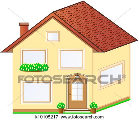 Stock Illustration Of Isolated Cottage With Flower Pot K10105217