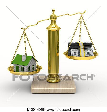 banque d 39 illustrations maison et esp ces sur balances isol 3d image k10014066. Black Bedroom Furniture Sets. Home Design Ideas