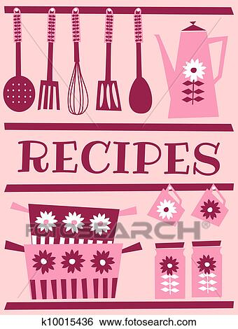 Clip Art of Retro Recipe Card k10015436 - Search Clipart, Illustration Posters, Drawings, and ...