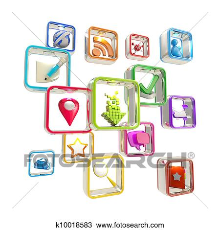 Clipart of The white smart phone with the multimedia application ...