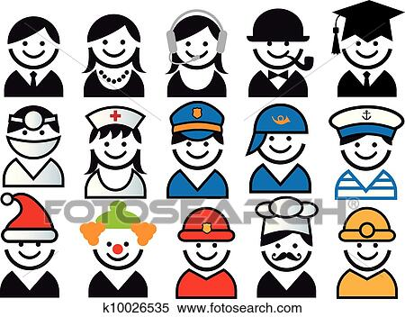 Profession vector people icon set view large illustration