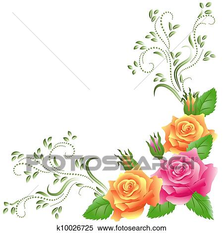 Clipart of Ornamental border with pink roses k10671965 - Search ...