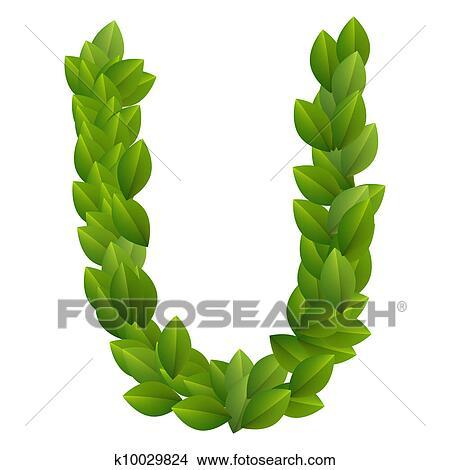 剪贴画 - 信件, u, 在中, 绿色的树叶, 字母表图片