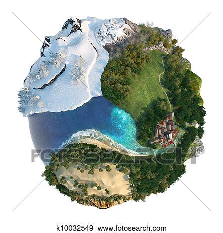 스톡 일러스트 - 지구, 풍경, 다양성 k10032549 - 벡터 클립아트 ...
