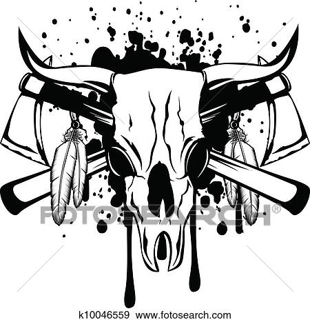 Clip Art Of Skull Bull And Crossed Axes K10046559 Search