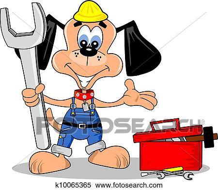 Clipart dessin anim chien bricolage r parer homme - Clipart bricolage ...