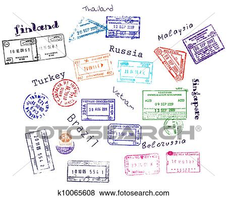 Clip Art of Real visa stamps from 9 countries k10065608 - Search ...