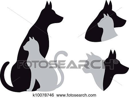 Clip art gatto e cane vettore k10078746 cerca for Gatto clipart