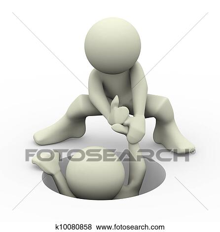 Stock Illustration of 3d people helping k8994468 - Search EPS Clip ...