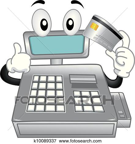 Clip Art of Cash Register Mascot k10089337 - Search Clipart ...