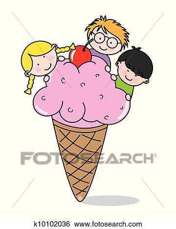 剪贴画 孩子吃, 冰淇淋