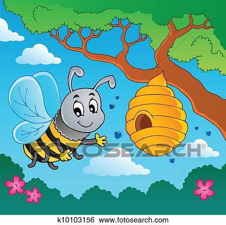 Clipart dessin anim abeille ruche k10103156 - Dessin de ruche d abeille ...