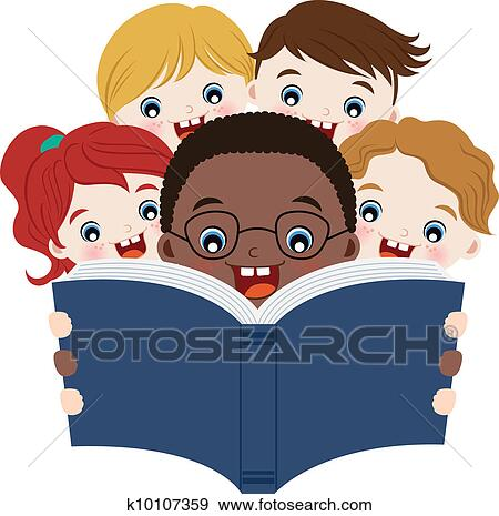 Clipart of children reading a book k8635775 - Search Clip Art ...