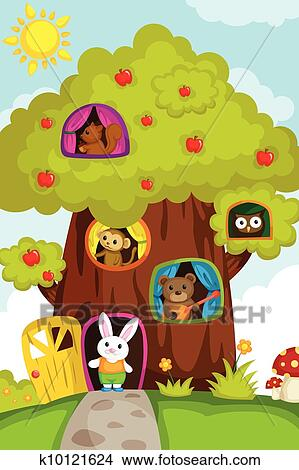 Clipart of Animals in a treehouse k10121624 - Search Clip ...