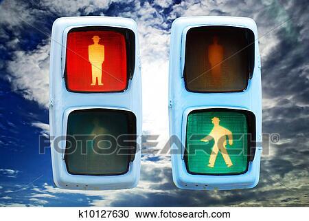 Stock Fotografie - ampel, rot grün, spaziergang, zeichen. Fotosearch - Suche Stockfotografien, Fotos, Wandbilder, Bilder und Foto Clipart