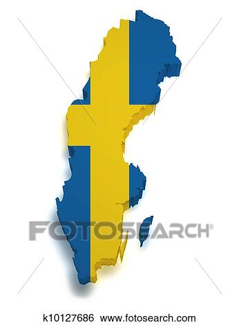 Stock Images Of Sweden Map D Shape K Search Stock - Sweden map search