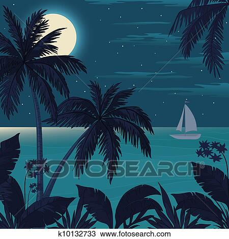 Drawing of Tropical ocean landscape with palm trees ...