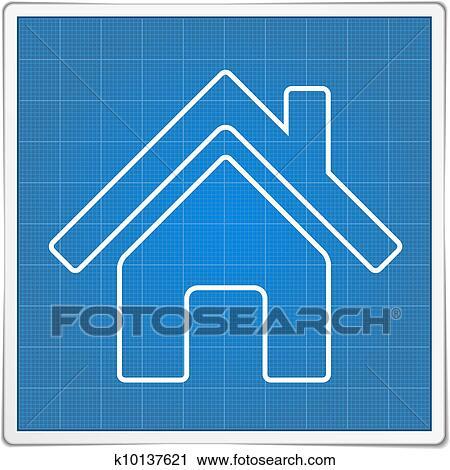 剪贴画 蓝图, 房屋图标