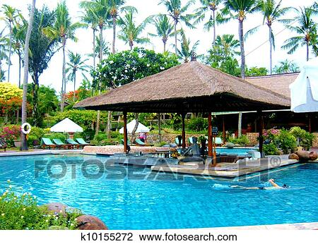 stock photo of swimming pool with hut k10155272