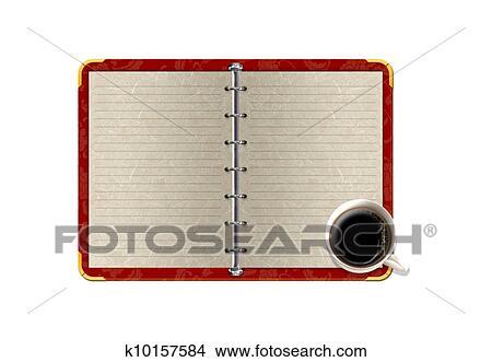 手绘图 - 隔离, 红, 笔记本