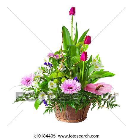 Archivio immagini luminoso bouquet fiore in cesto for Fenicottero decorativo giardino