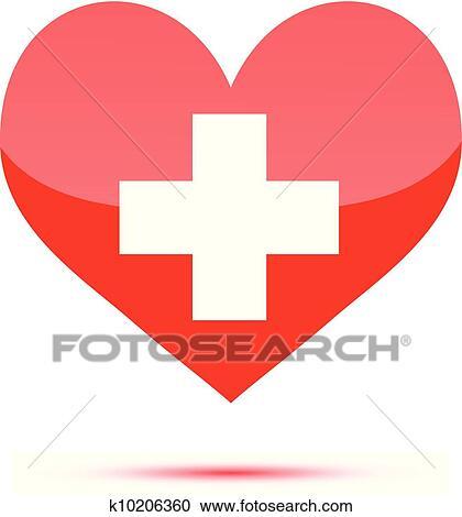 Clipart cuore rosso forma con medico croce k10206360 for Clipart cuore