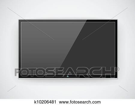 clipart men tv accrocher dessus mur k10206481 recherchez des clip arts des. Black Bedroom Furniture Sets. Home Design Ideas