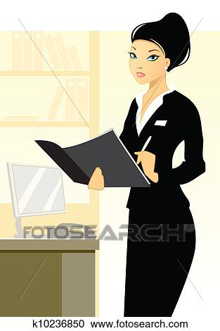 clipart jeune secr taire dans bureau k10236850. Black Bedroom Furniture Sets. Home Design Ideas