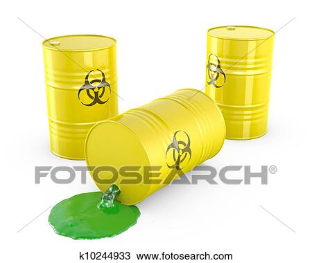 Drawing of Toxic waste spilling from barrel k10244933 ...
