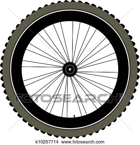 Clipart of bike wheel with tire and spokes isolated on for Bike tire art