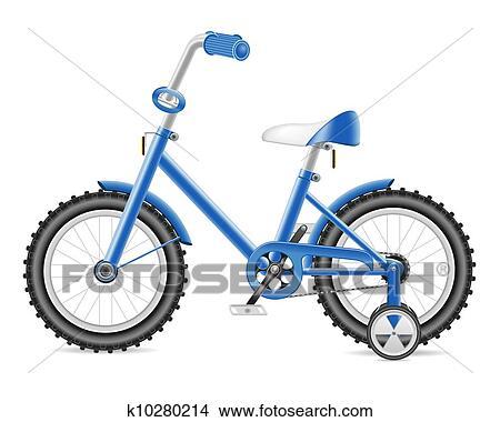 手绘图 - 孩子, 自行车