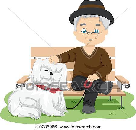 clipart personne agee prendre chien pour a promenade k10286966 recherchez des cliparts. Black Bedroom Furniture Sets. Home Design Ideas