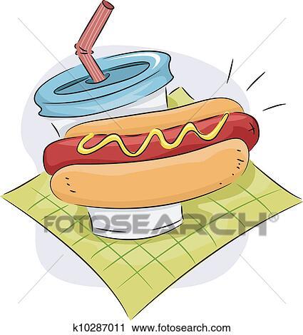 剪贴画 - hotdog, 三明治, 同时,, 饮料, 图标图片