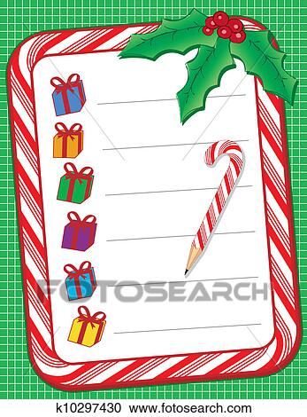 Clipart of Christmas Shopping List k10297430 - Search Clip Art ...