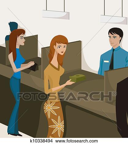 Drawings of Two women at bank tellers k10338494 Search