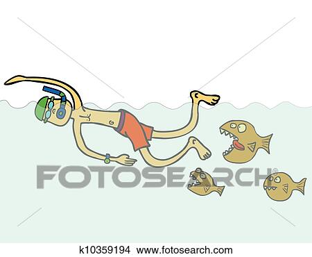 Clipart of swimming with piranhas k10359194 - Search Clip Art ...
