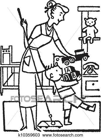 zeichnung a schwarz wei version von a frau und junger junge aufr umen seine zimmer. Black Bedroom Furniture Sets. Home Design Ideas