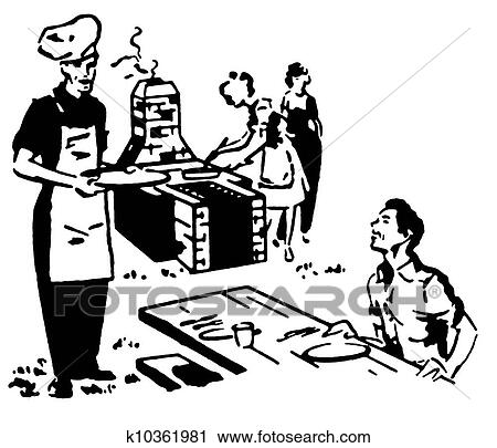 clipart of a black and white version of a family enjoying