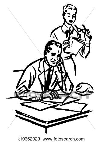 Drawing of A black and white version of a businessman working at ...
