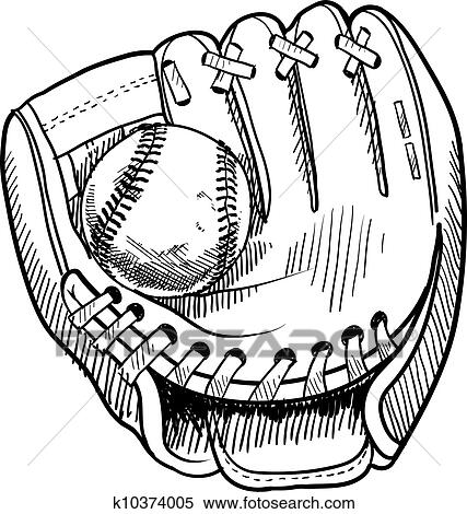 clipart of baseball glove sketch k10374005 search clip