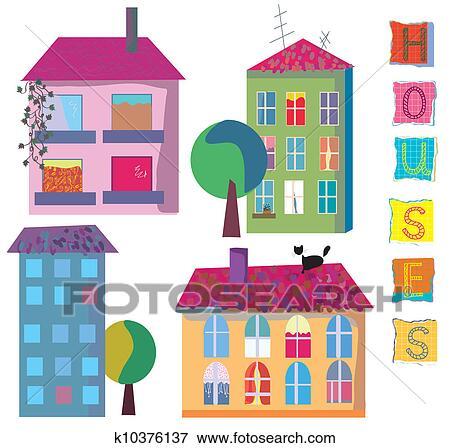 Colección de ilustraciones - conjunto, de, lindo, brillante, casas ...