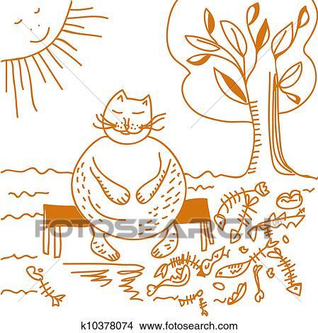 手绘图 - 肥胖的猫, 在正餐后, 卡通漫画.图片