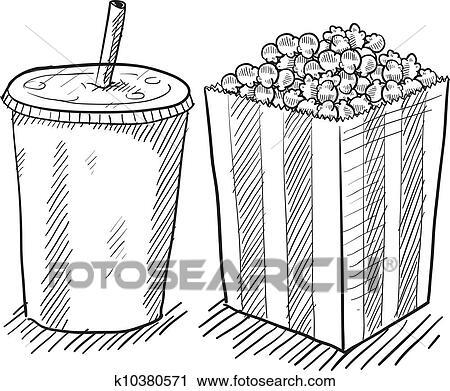 Clipart Of Movie Popcorn And Soda Sketch K10380571