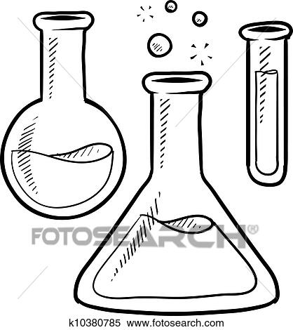 Scientist With Scientific Bubbling Flask Coloring Page